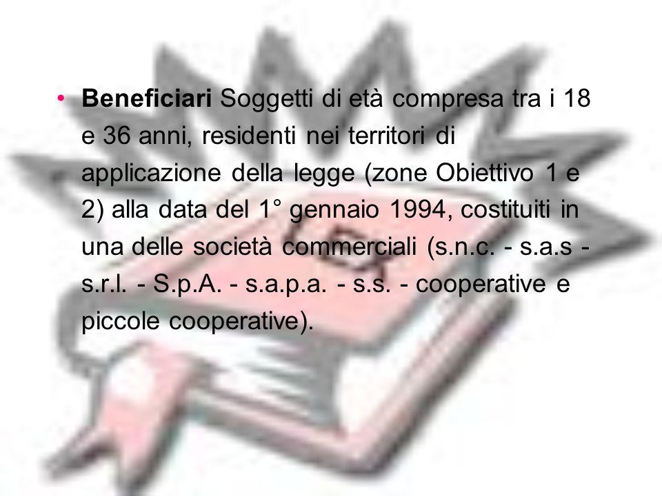 Imprenditoria giovanile: Legge 95/95 - ex. 44/86 Struttura responsabileSviluppo Italia Spa FinalitàL'obiettivo di questa agevolazione è di favorire la