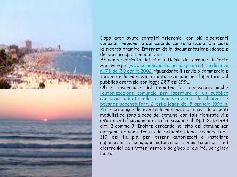 La ricerca è iniziata procurando i numeri telefonici idonei per informazioni utili a tale scopo: Comune di Porto San Giorgio 0734 6801 Regione Marche