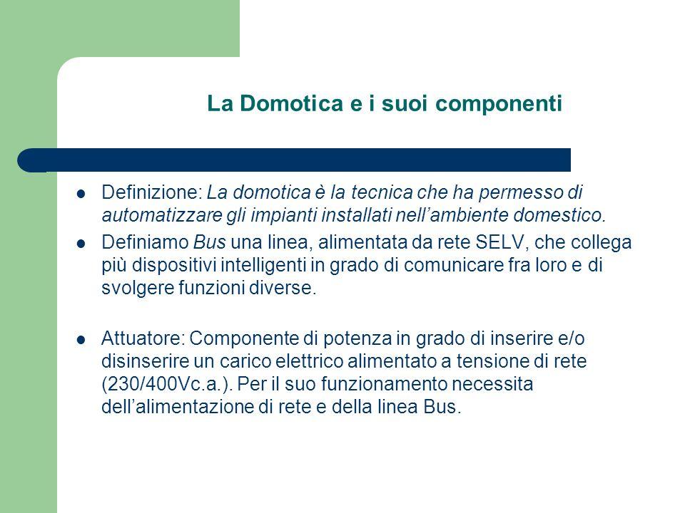 La Domotica e i suoi componenti Definizione: La domotica è la tecnica che ha permesso di automatizzare gli impianti installati nellambiente domestico.