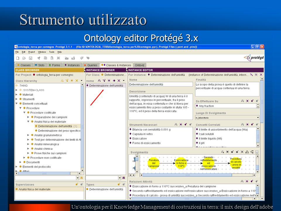 Un ontologia per il Knowledge Management di costruzioni in terra: il mix design dell adobe Strumento utilizzato Ontology editor Protégé 3.x