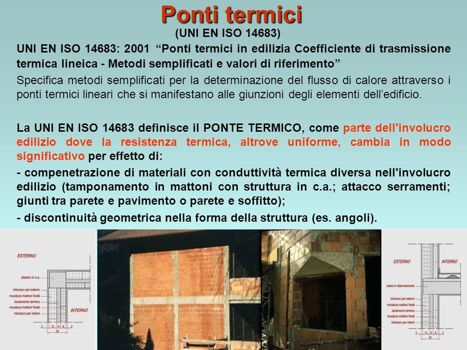Ponti termici UNI EN ISO 14683: 2001 Ponti termici in edilizia Coefficiente di trasmissione termica lineica - Metodi semplificati e valori di riferimento Specifica metodi semplificati per la determinazione del flusso di calore attraverso i ponti termici lineari che si manifestano alle giunzioni degli elementi delledificio.