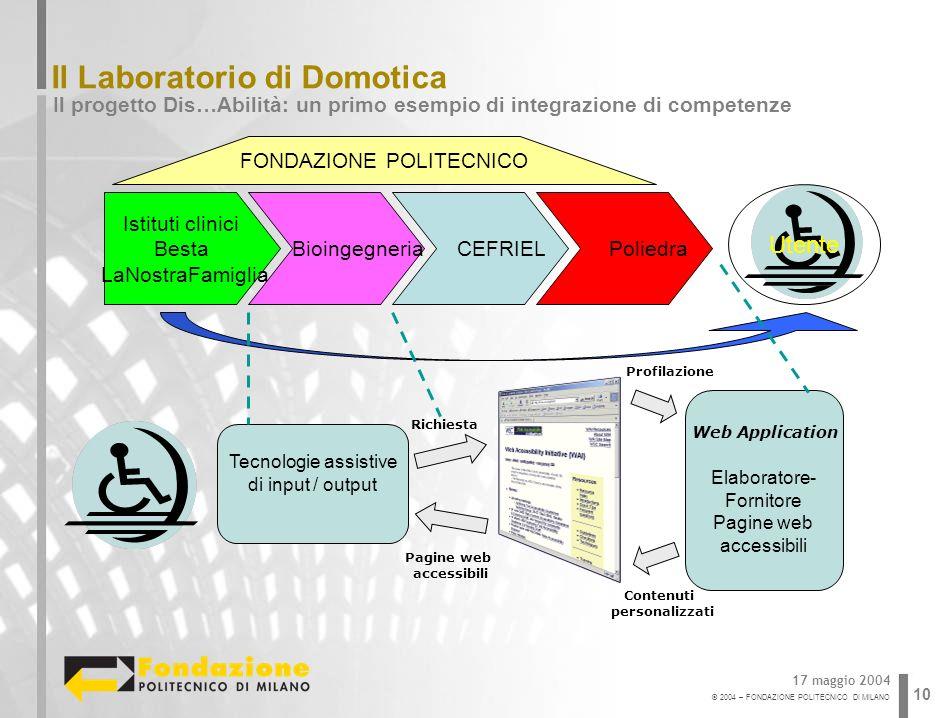 © 2004 – FONDAZIONE POLITECNICO DI MILANO 10 Il Laboratorio di Domotica Il progetto Dis…Abilità: un primo esempio di integrazione di competenze 17 mag
