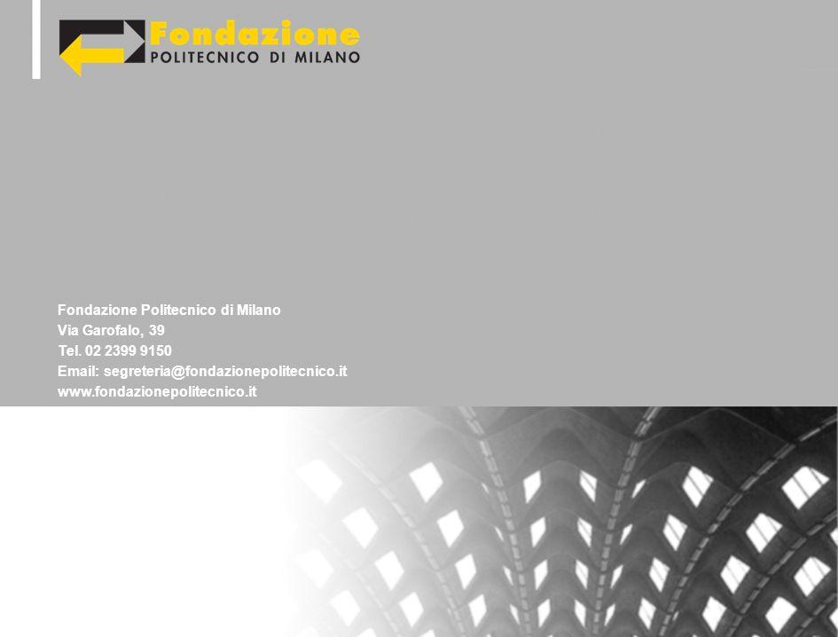 Fondazione Politecnico di Milano Via Garofalo, 39 Tel. 02 2399 9150 Email: segreteria@fondazionepolitecnico.it www.fondazionepolitecnico.it