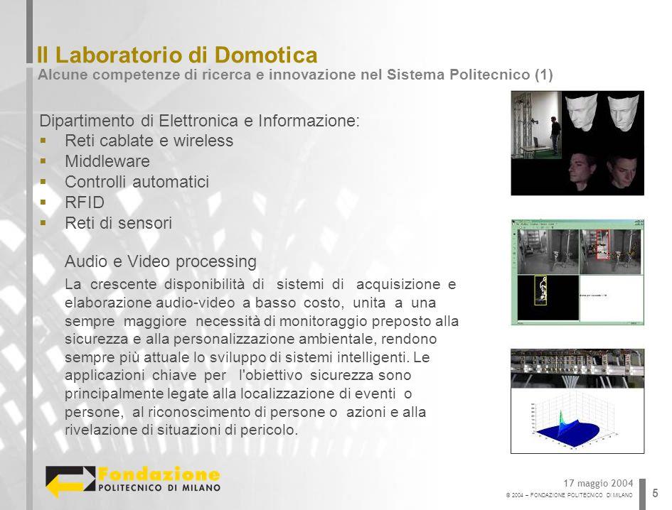 © 2004 – FONDAZIONE POLITECNICO DI MILANO 5 Il Laboratorio di Domotica Alcune competenze di ricerca e innovazione nel Sistema Politecnico (1) 17 maggi