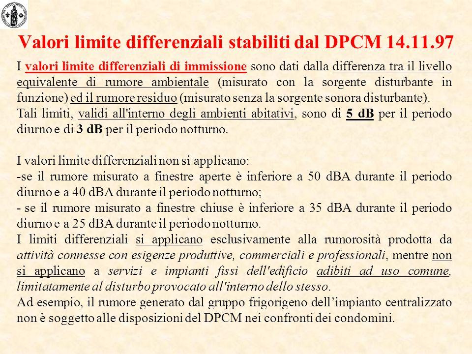 I valori limite differenziali di immissione sono dati dalla differenza tra il livello equivalente di rumore ambientale (misurato con la sorgente disturbante in funzione) ed il rumore residuo (misurato senza la sorgente sonora disturbante).