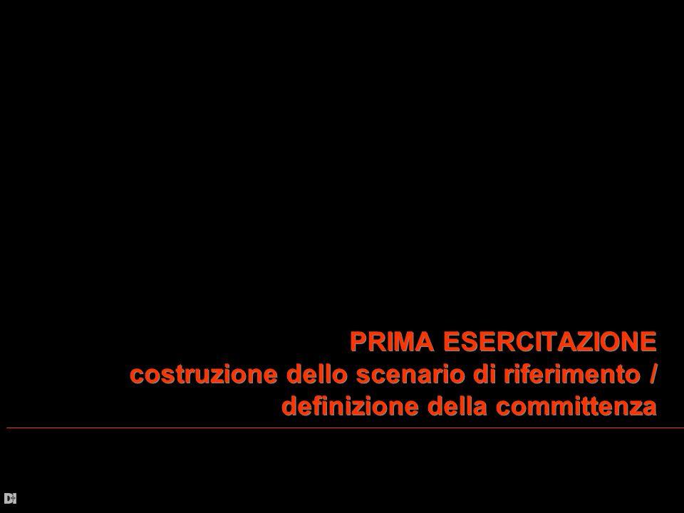 PRIMA ESERCITAZIONE costruzione dello scenario di riferimento / definizione della committenza PRIMA ESERCITAZIONE costruzione dello scenario di riferi