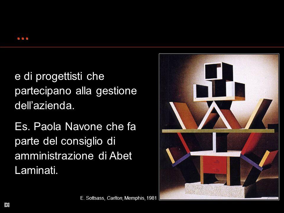 … … e di progettisti che partecipano alla gestione dellazienda. Es. Paola Navone che fa parte del consiglio di amministrazione di Abet Laminati. E. So