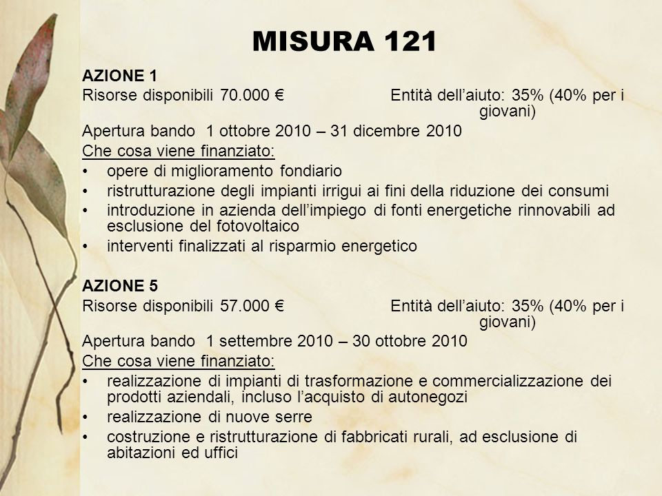 MISURA 121 AZIONE 1 Risorse disponibili 70.000 Entità dellaiuto: 35% (40% per i giovani) Apertura bando 1 ottobre 2010 – 31 dicembre 2010 Che cosa vie