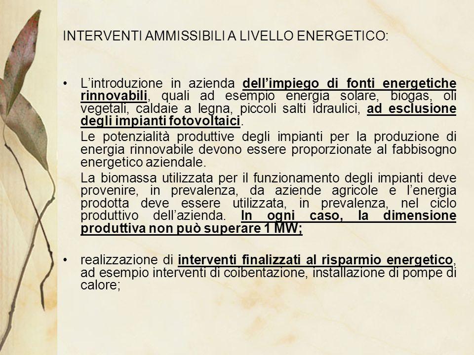 INTERVENTI AMMISSIBILI A LIVELLO ENERGETICO: Lintroduzione in azienda dellimpiego di fonti energetiche rinnovabili, quali ad esempio energia solare, b
