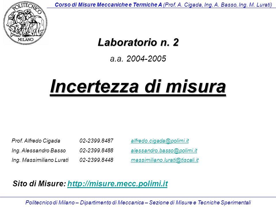 Politecnico di Milano – Dipartimento di Meccanica – Sezione di Misure e Tecniche Sperimentali Laboratorio n.