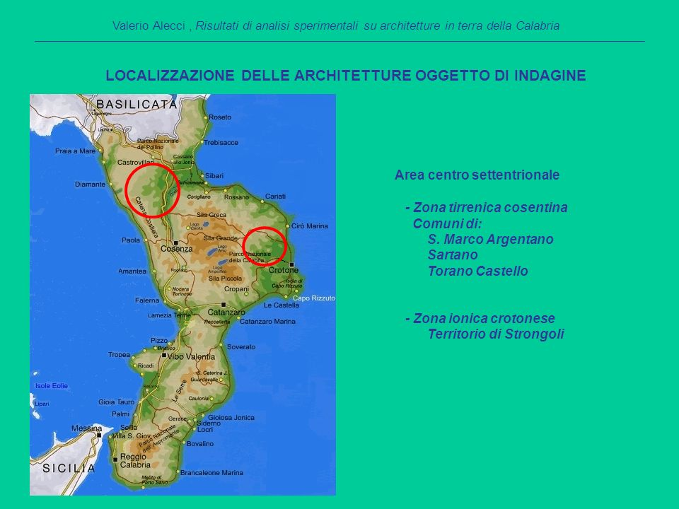 Area centro settentrionale - Zona tirrenica cosentina Comuni di: S.