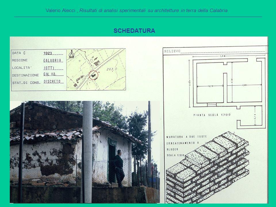 SCHEDATURA Valerio Alecci, Risultati di analisi sperimentali su architetture in terra della Calabria