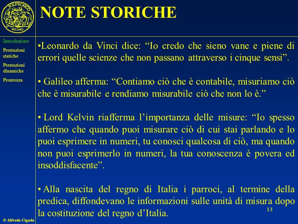 © Alfredo Cigada 13 Leonardo da Vinci dice: Io credo che sieno vane e piene di errori quelle scienze che non passano attraverso i cinque sensi.