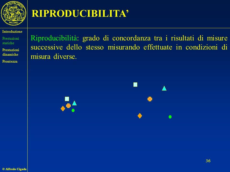 © Alfredo Cigada 36 RIPRODUCIBILITA Riproducibilità: grado di concordanza tra i risultati di misure successive dello stesso misurando effettuate in condizioni di misura diverse.