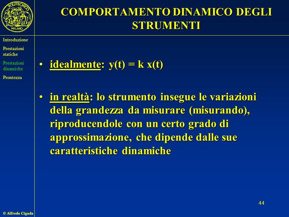 © Alfredo Cigada 44 COMPORTAMENTO DINAMICO DEGLI STRUMENTI idealmente: y(t) = k x(t)idealmente: y(t) = k x(t) in realtà: lo strumento insegue le variazioni della grandezza da misurare (misurando), riproducendole con un certo grado di approssimazione, che dipende dalle sue caratteristiche dinamichein realtà: lo strumento insegue le variazioni della grandezza da misurare (misurando), riproducendole con un certo grado di approssimazione, che dipende dalle sue caratteristiche dinamiche Introduzione Prestazioni statiche Prestazioni dinamiche Prontezza