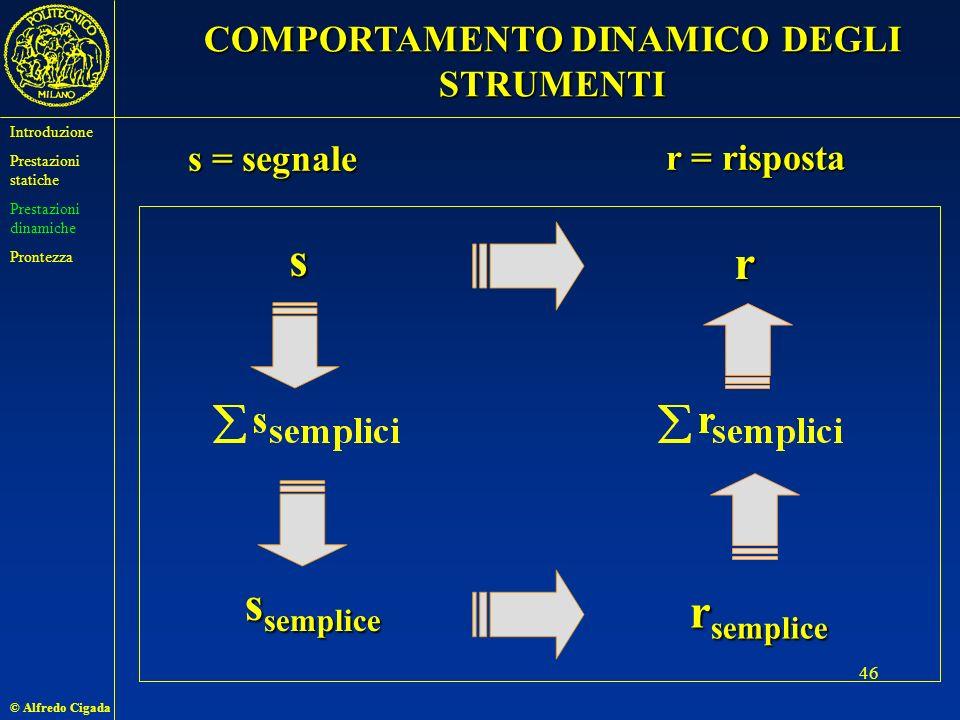 © Alfredo Cigada 46 s = segnale r = risposta s s semplice r r semplice COMPORTAMENTO DINAMICO DEGLI STRUMENTI Introduzione Prestazioni statiche Prestazioni dinamiche Prontezza