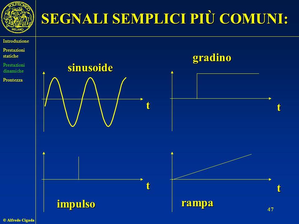 © Alfredo Cigada 47 SEGNALI SEMPLICI PIÙ COMUNI: t t t t sinusoide gradino impulso rampa Introduzione Prestazioni statiche Prestazioni dinamiche Prontezza