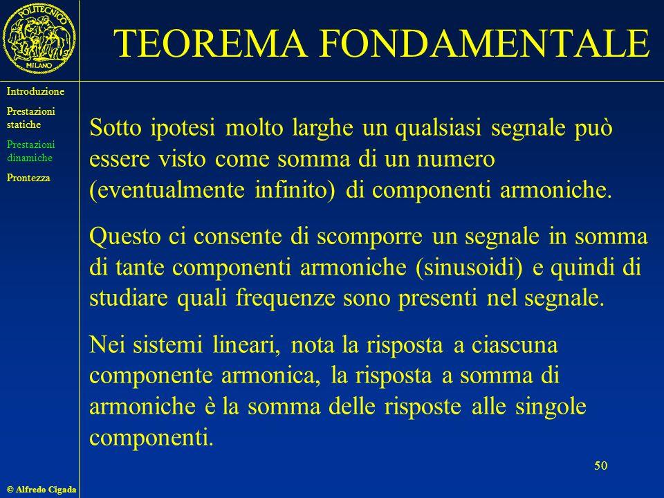 © Alfredo Cigada 50 TEOREMA FONDAMENTALE Sotto ipotesi molto larghe un qualsiasi segnale può essere visto come somma di un numero (eventualmente infinito) di componenti armoniche.