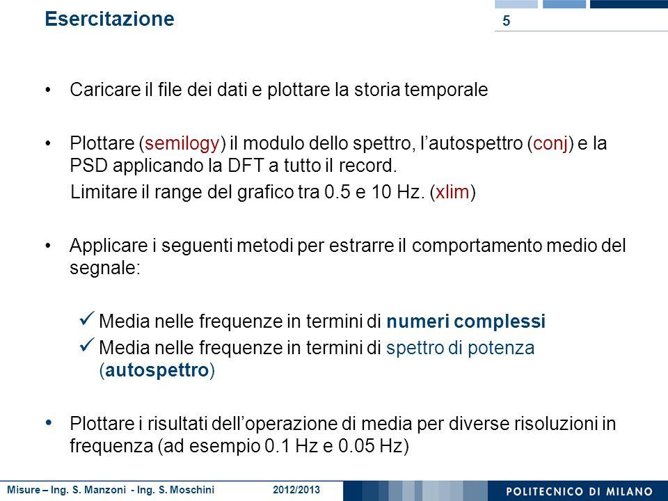 Misure – Ing. S. Manzoni - Ing. S. Moschini 2012/2013 4 Autospettro: PSD: Ripasso