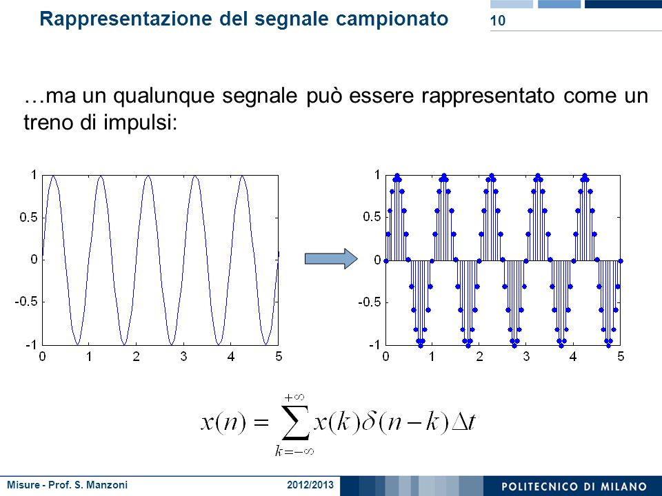 Misure - Prof. S. Manzoni 2012/2013 Ipotesi sul sistema 9 Se il sistema è lineare vale la sovrapposizione degli effetti: