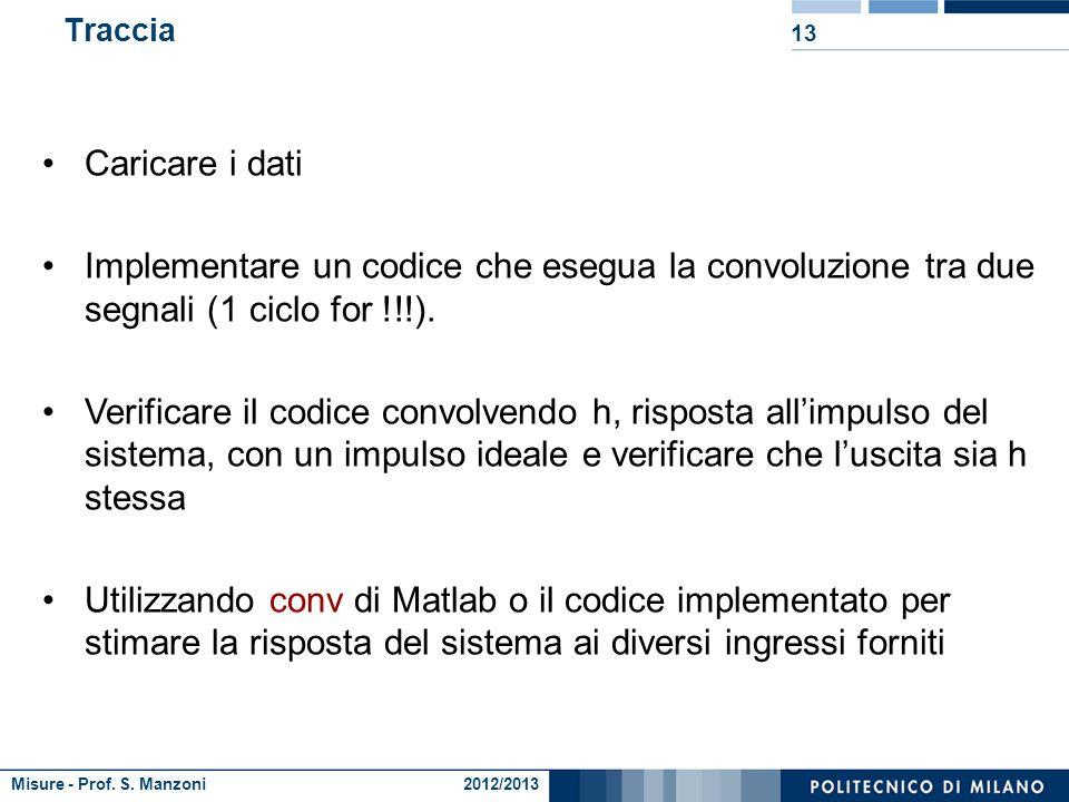 Misure - Prof. S. Manzoni 2012/2013 Convoluzione 12 la risposta di un sistema ad un ingresso generico è la somma delle risposte del sistema ai singoli