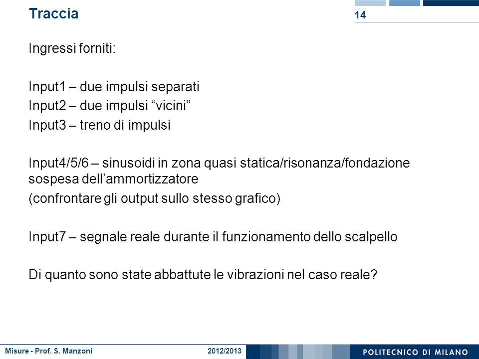 Misure - Prof. S. Manzoni 2012/2013 Traccia 13 Caricare i dati Implementare un codice che esegua la convoluzione tra due segnali (1 ciclo for !!!). Ve