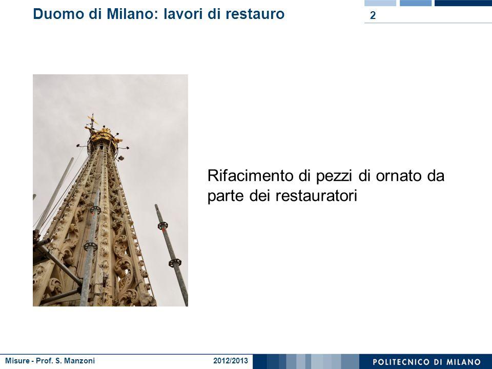 Misure - Prof. S. Manzoni 2012/2013 Duomo di Milano: lavori di restauro Duomo di Milano: lavori di restauro sulla guglia maggiore: 1