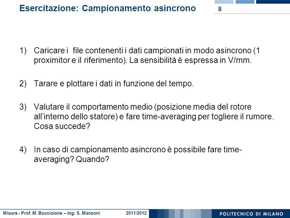 Misure - Prof. M. Bocciolone – Ing. S. Manzoni 2011/2012 Caratterizzazione comportamento alternatore motore monocilindrico 7 Test eseguito a velocità