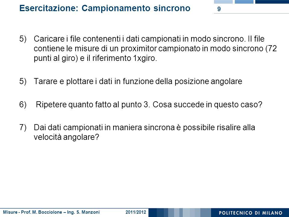 Misure - Prof. M. Bocciolone – Ing. S. Manzoni 2011/2012 Esercitazione: Campionamento asincrono 1)Caricare i file contenenti i dati campionati in modo