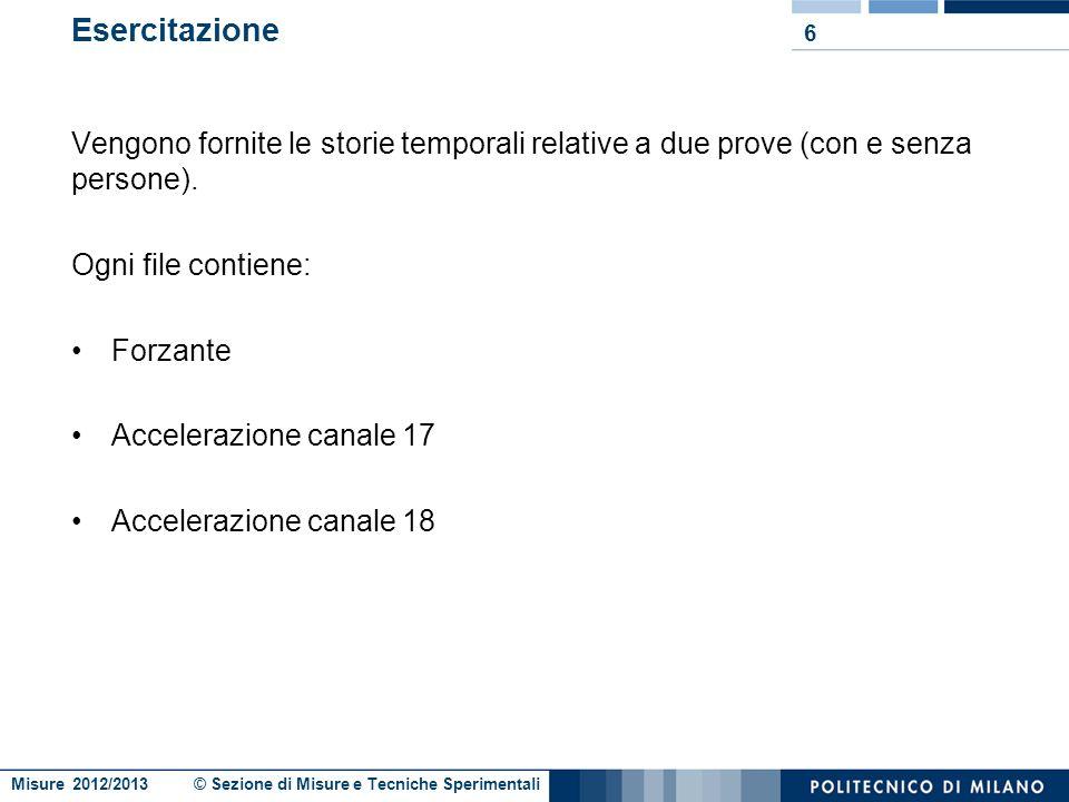 Misure 2012/2013 © Sezione di Misure e Tecniche Sperimentali Esercitazione Vengono fornite le storie temporali relative a due prove (con e senza persone).