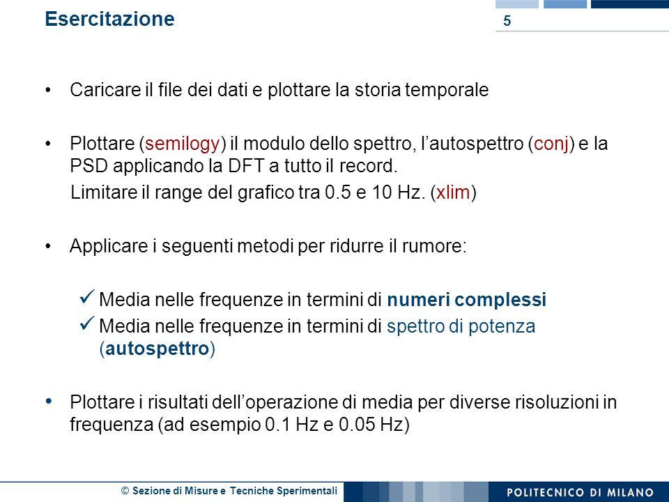 © Sezione di Misure e Tecniche Sperimentali 4 Autospettro: PSD: Ripasso