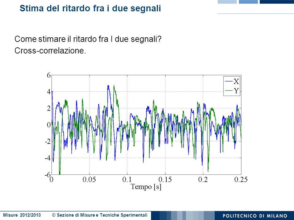 Misure 2012/2013 © Sezione di Misure e Tecniche Sperimentali Il problema della velocità (2/2) Utilizzo due laser affiancati che misurano lo stesso pro