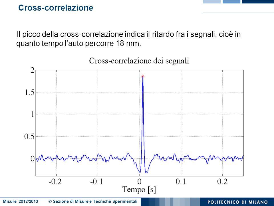 Misure 2012/2013 © Sezione di Misure e Tecniche Sperimentali Stima del ritardo fra i due segnali Come stimare il ritardo fra I due segnali? Cross-corr