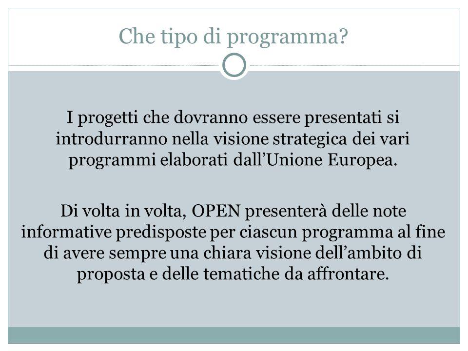Che tipo di programma? I progetti che dovranno essere presentati si introdurranno nella visione strategica dei vari programmi elaborati dallUnione Eur