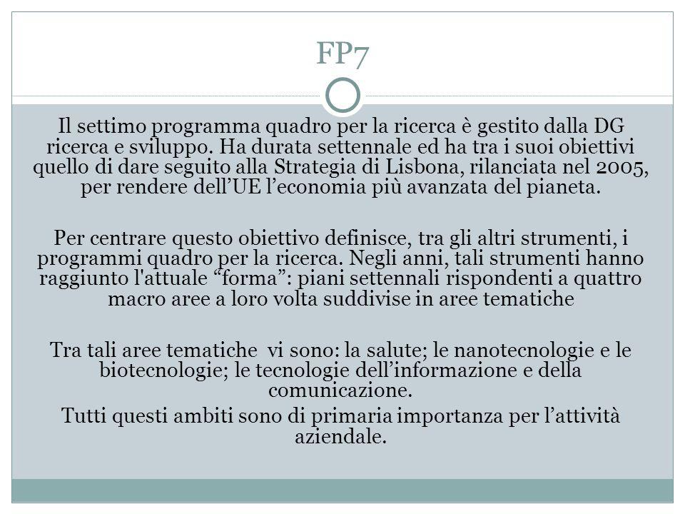 FP7 Il settimo programma quadro per la ricerca è gestito dalla DG ricerca e sviluppo. Ha durata settennale ed ha tra i suoi obiettivi quello di dare s
