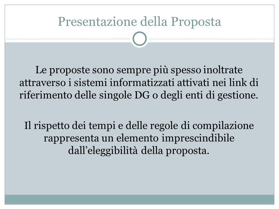 Presentazione della Proposta Le proposte sono sempre più spesso inoltrate attraverso i sistemi informatizzati attivati nei link di riferimento delle s