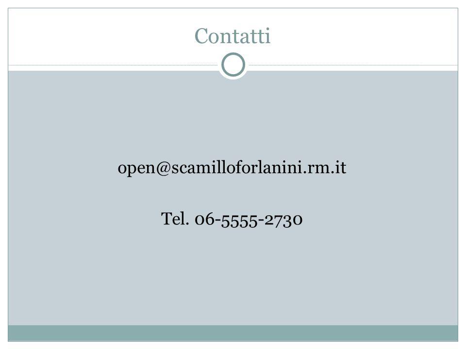Contatti open@scamilloforlanini.rm.it Tel. 06-5555-2730