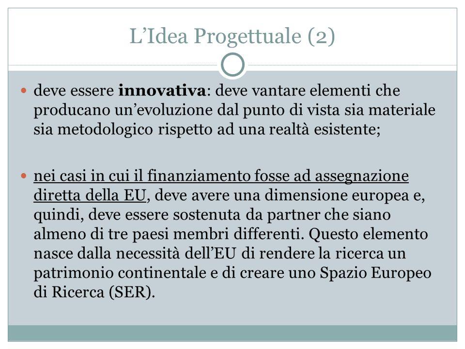 LIdea Progettuale (2) deve essere innovativa: deve vantare elementi che producano unevoluzione dal punto di vista sia materiale sia metodologico rispe