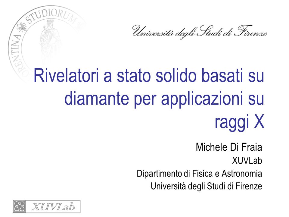 Rivelatori a stato solido basati su diamante per applicazioni su raggi X Future applications: -Xas Io e I1 -Exafs time-resolved - Bunch by bunch beam monitor detectors -X ray Imaging