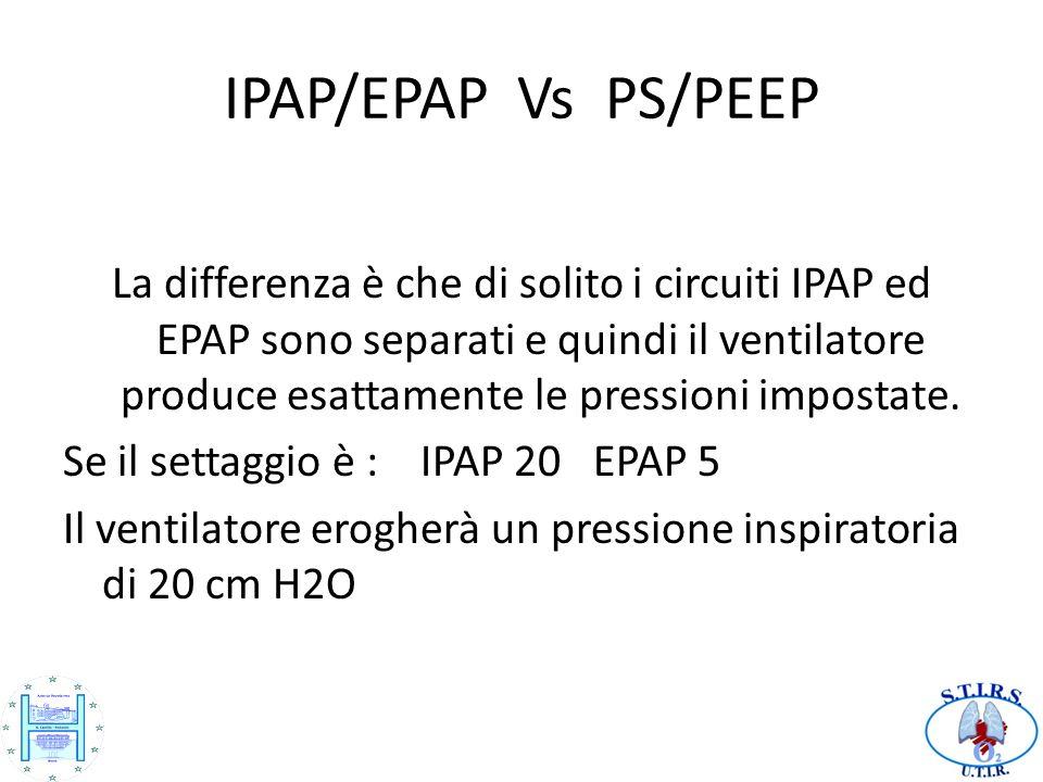 IPAP/EPAP Vs PS/PEEP La differenza è che di solito i circuiti IPAP ed EPAP sono separati e quindi il ventilatore produce esattamente le pressioni impo
