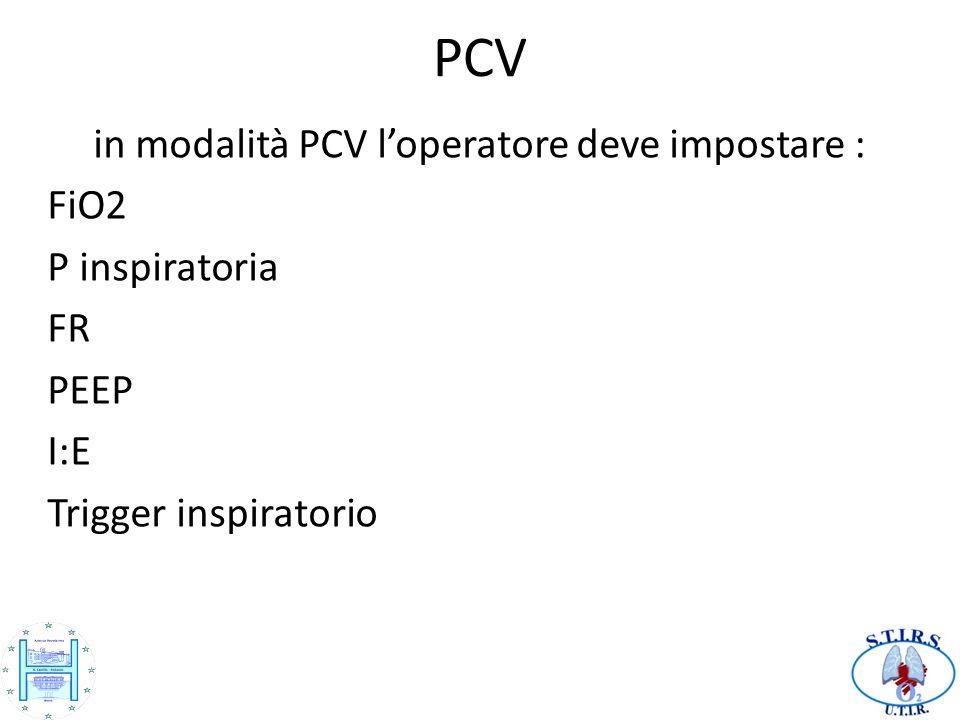 PCV in modalità PCV loperatore deve impostare : FiO2 P inspiratoria FR PEEP I:E Trigger inspiratorio