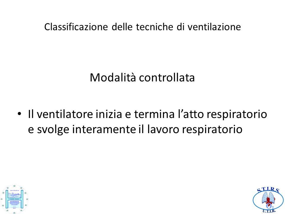 Classificazione delle tecniche di ventilazione Modalità controllata Il ventilatore inizia e termina latto respiratorio e svolge interamente il lavoro