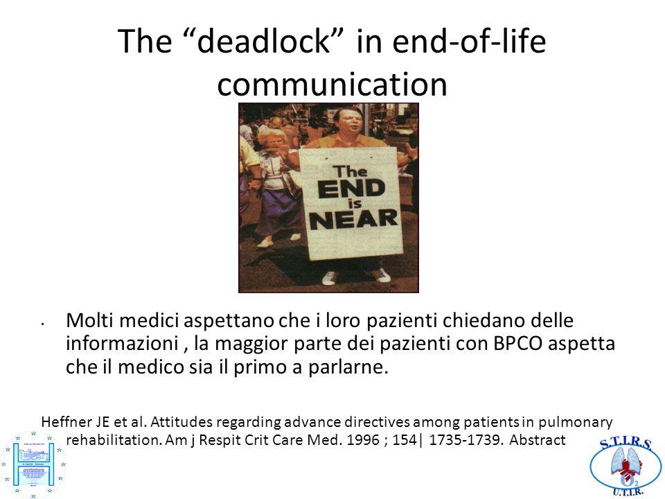 The deadlock in end-of-life communication Molti medici aspettano che i loro pazienti chiedano delle informazioni, la maggior parte dei pazienti con BPCO aspetta che il medico sia il primo a parlarne.