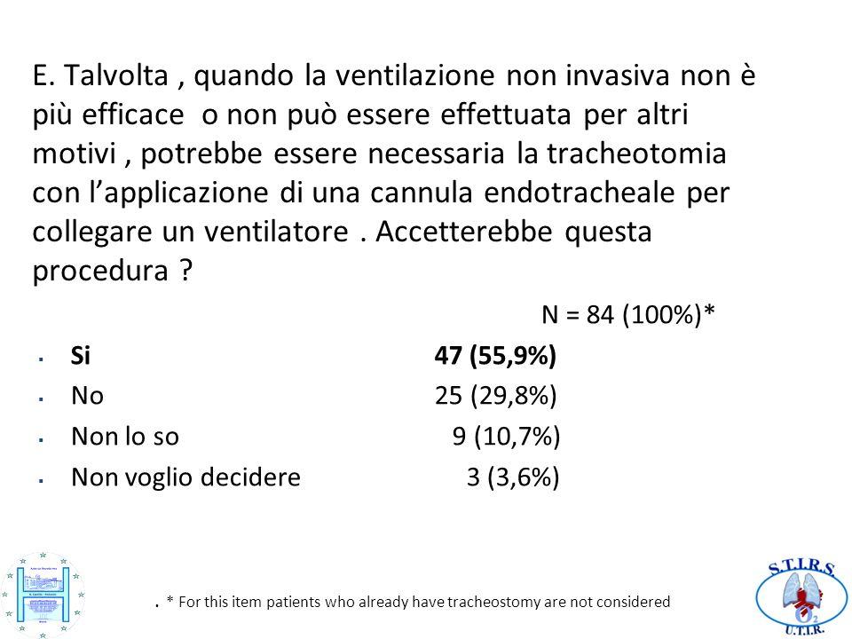 E. Talvolta, quando la ventilazione non invasiva non è più efficace o non può essere effettuata per altri motivi, potrebbe essere necessaria la trache