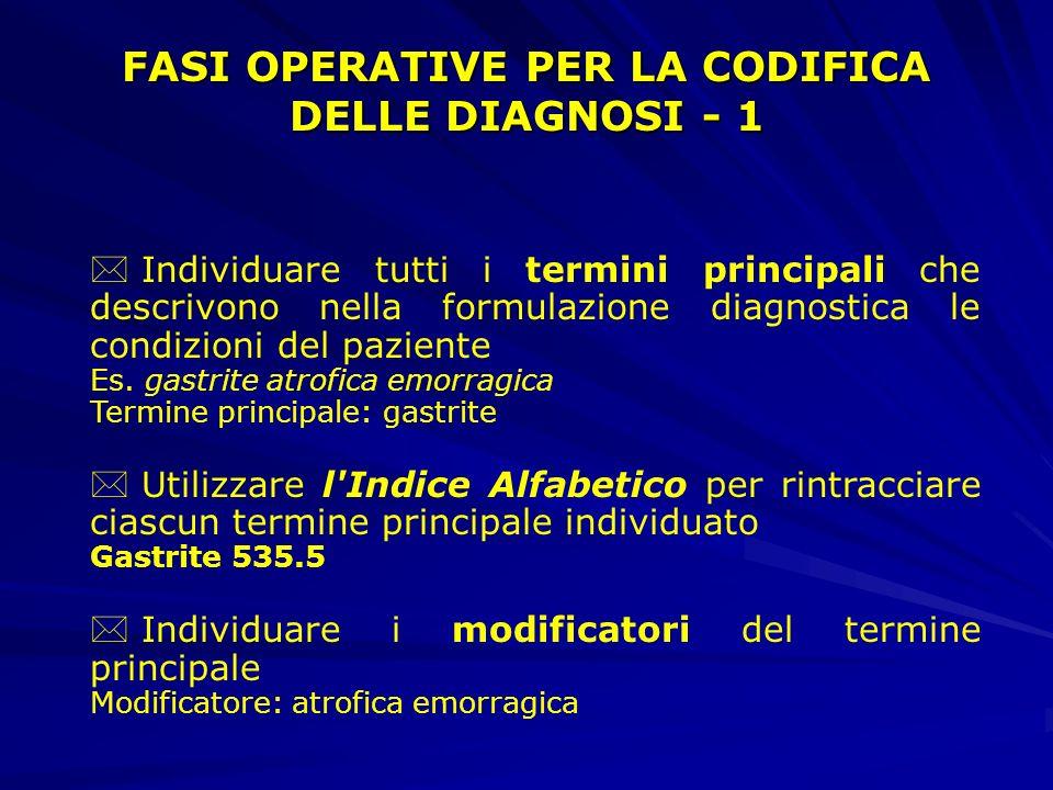 * Individuare tutti i termini principali che descrivono nella formulazione diagnostica le condizioni del paziente Es.