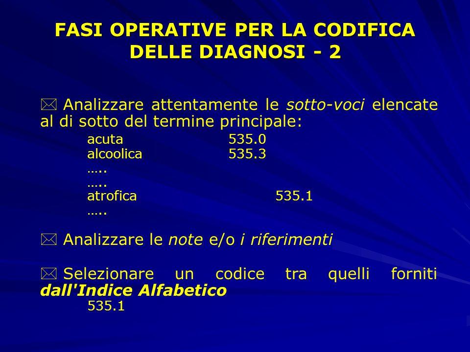 * Individuare tutti i termini principali che descrivono nella formulazione diagnostica le condizioni del paziente Es. gastrite atrofica emorragica Ter