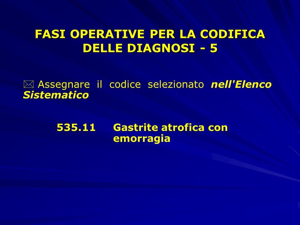 * Assegnare il codice selezionato nell Elenco Sistematico 535.11Gastrite atrofica con emorragia FASI OPERATIVE PER LA CODIFICA DELLE DIAGNOSI - 5