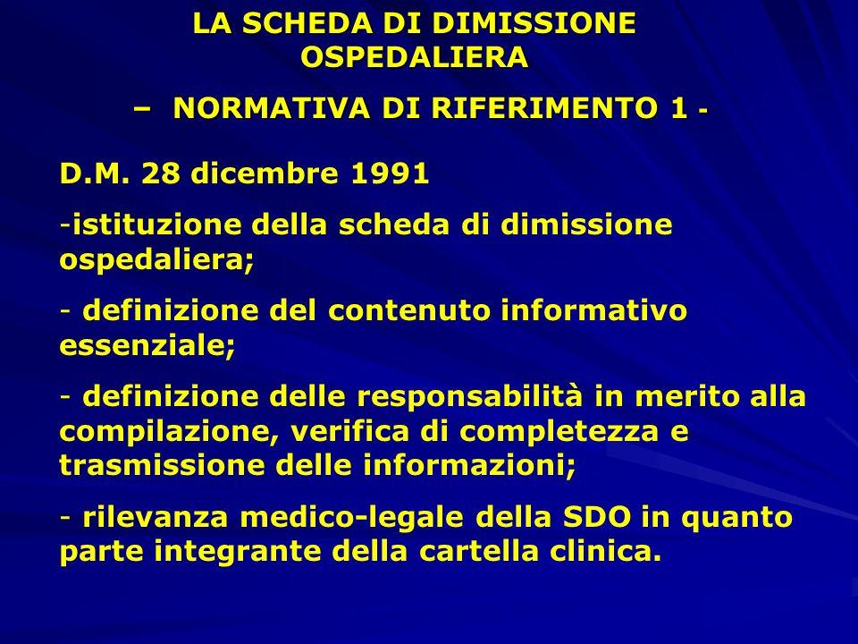 LA SCHEDA DI DIMISSIONE OSPEDALIERA – NORMATIVA DI RIFERIMENTO 1 - – NORMATIVA DI RIFERIMENTO 1 - D.M.