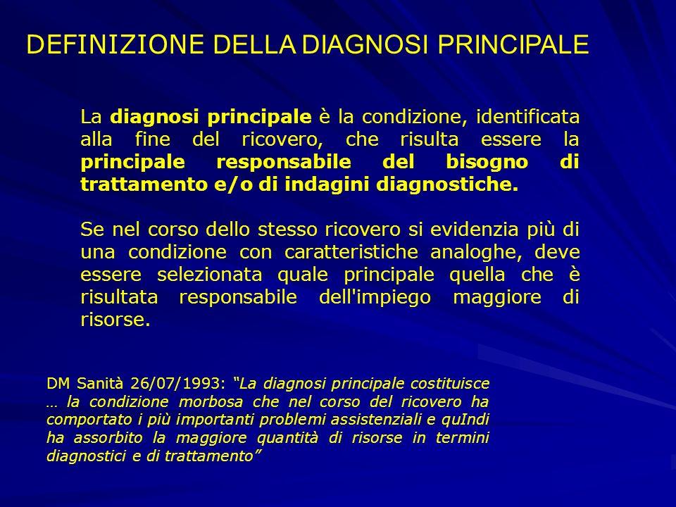 La diagnosi principale è la condizione, identificata alla fine del ricovero, che risulta essere la principale responsabile del bisogno di trattamento e/o di indagini diagnostiche.
