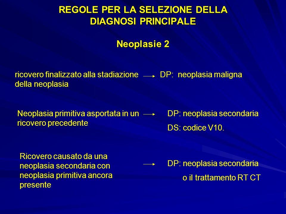 REGOLE PER LA SELEZIONE DELLA DIAGNOSI PRINCIPALE Neoplasie 2 ricovero finalizzato alla stadiazione DP: neoplasia maligna della neoplasia Neoplasia primitiva asportata in un ricovero precedente DP: neoplasia secondaria DS: codice V10.